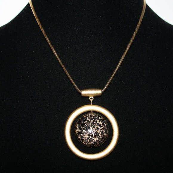 """Vintage gold and black long necklace 32"""""""